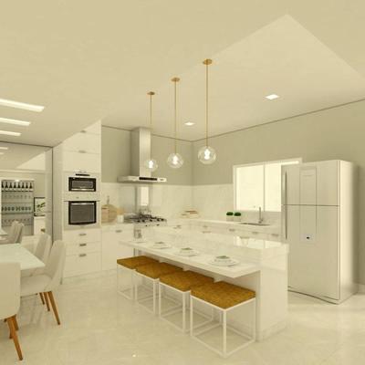 Projeto de interiores – Cozinha com conceito clean